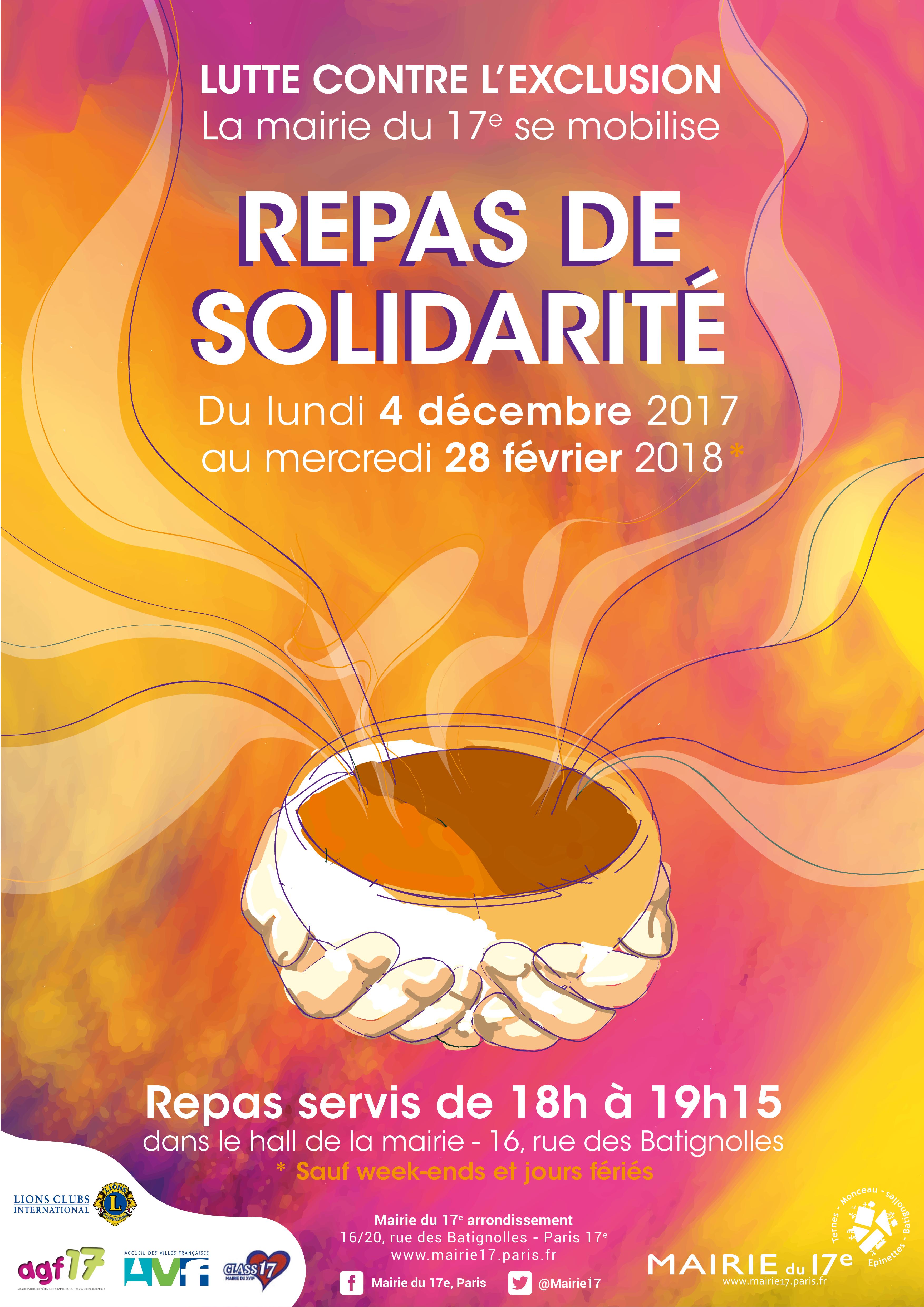 AFFICHE REPAS DE SOLIDARITE 2017-2018
