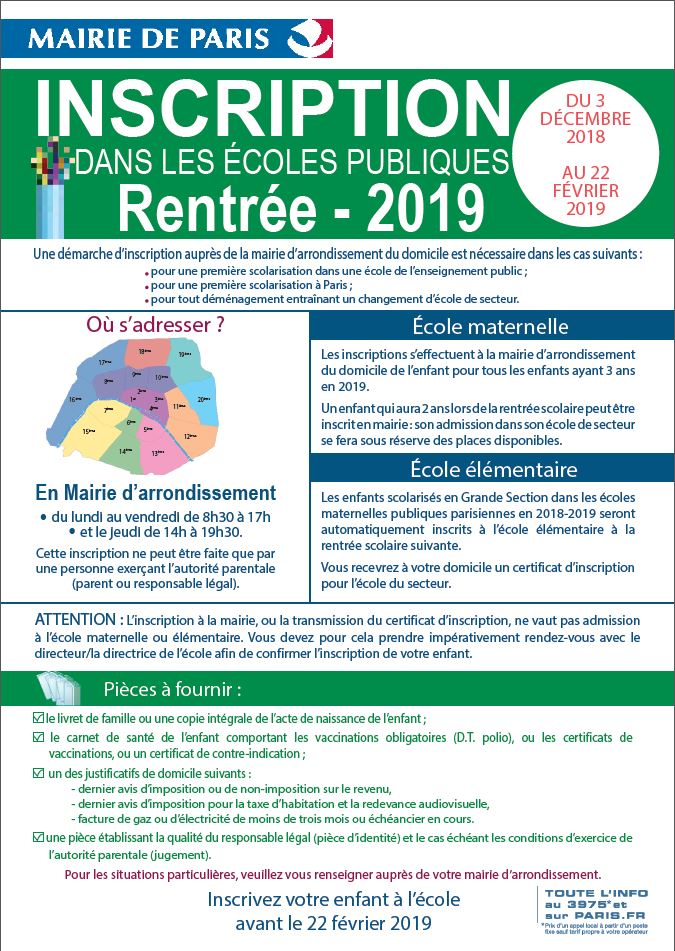 inscription écoles publiques 2019 paris