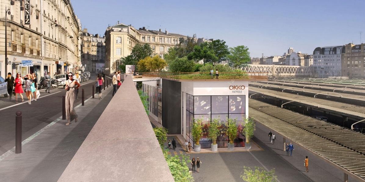 """Esta """"varanda verde"""" abrigará um jardim de 2.600 m2, entre a plataforma nº 1 da Gare de l'Est e o muro de arrimo da rue d'Alsace. Imagem: Prefeitura de Paris."""