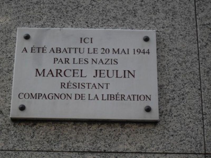 Plaque en hommage au Compagnon de la Libération Marcel Jeulin, abattu par les nazis à son domicile le 20 mai 1944, située 89/93, avenue du Général Michel-Bizot